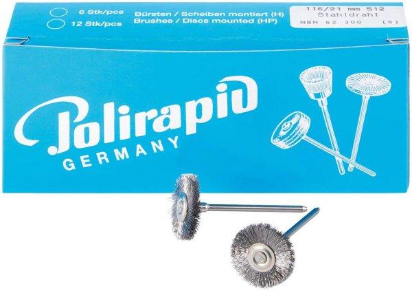 Miniaturbürste - Packung 6 Bürsten, Stahldraht 0,12 mm, Ø 21 mm von Polirapid
