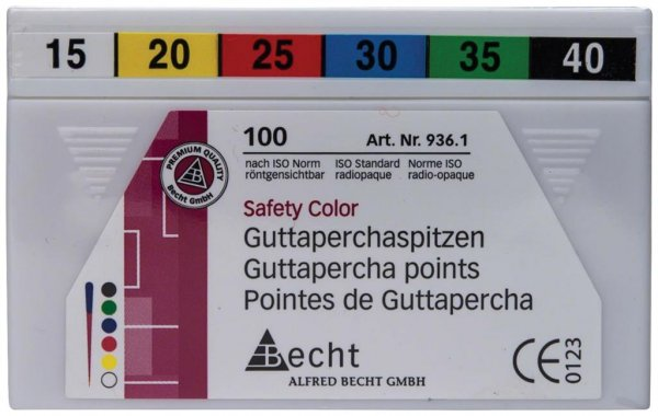 Guttaperchaspitzen Safety Color - Sortiment 100 Stück ISO 015-040 von Becht