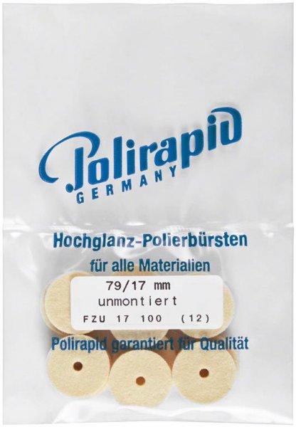 Filzrad - Packung 12 Filzräder FZU 17 100, unmontiert von Polirapid
