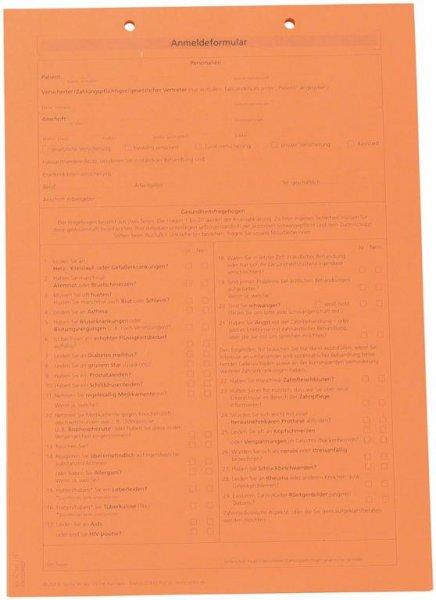 Formulare - Block 100 Blatt Anmeldung mit Anamnese orange, A4 von Spitta Verlag