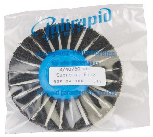 SUPREMA - Stück Rundbürste spitz, 2-reihig, Filzeinlage Ø 40/80 mm von Polirapid