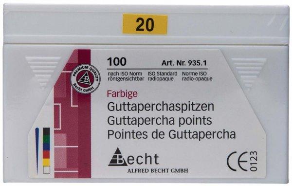Guttaperchaspitzen farbig - Packung 100 Stück ISO 020 von Becht