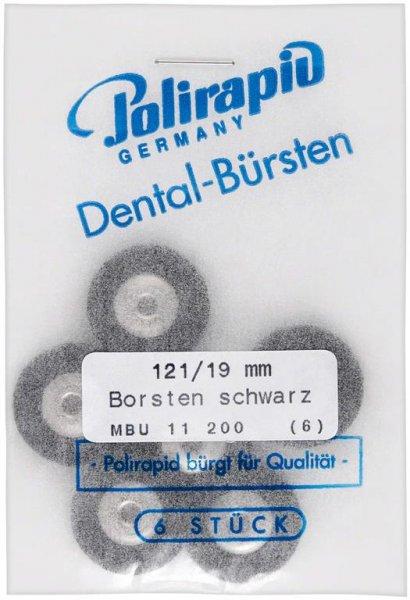 Miniaturbürste - Packung 6 Bürsten, Borste schwarz, Ø 19 mm, unmontiert von Polirapid