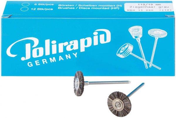 Miniaturbürste - Packung 12 Bürsten, Ziegenhaar grau, Ø 19 mm von Polirapid