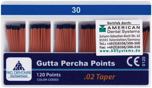 FKG Gutta Percha - Packung 120 Stück Taper.02 ISO 035 von American Dental