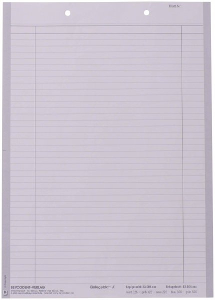 Einlegeblatt U1 - Block 1000 Blatt von Beycodent