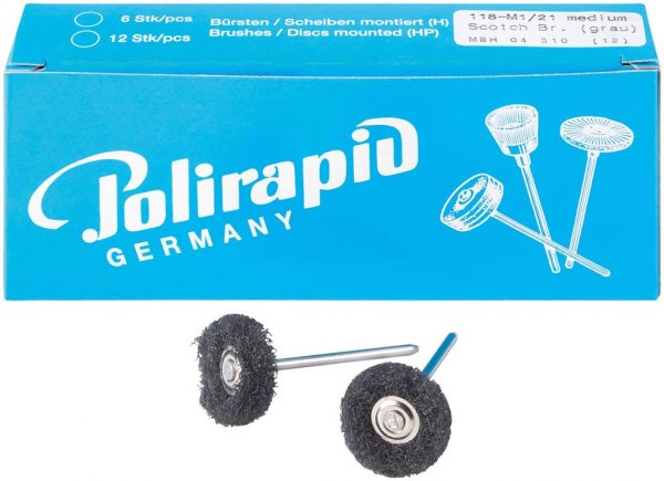 Miniaturbürste - Packung 12 Bürsten, 1 Scheibe 3M Scotch-BriteT medium, Ø 21 ... von Polirapid