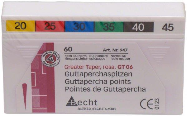 Greater Taper Rosa Guttaperchaspitzen - Packung 60 Stück Taper.06 ISO 020-045 von Becht