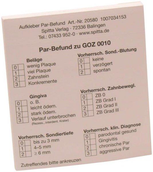 Formulare - Block 50 Blatt PAR-Befund zu GOZ 001 weiß, selbstklebend von Spitta Verlag