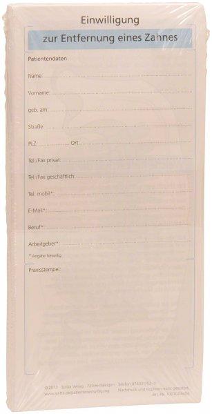 Einwilligung Entfernung eines Zahnes - Packung 50 Blatt von Spitta Verlag