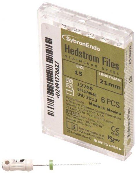 Hedströmfeilen - Packung 6 Feilen 21 mm ISO 015 von SybronEndo