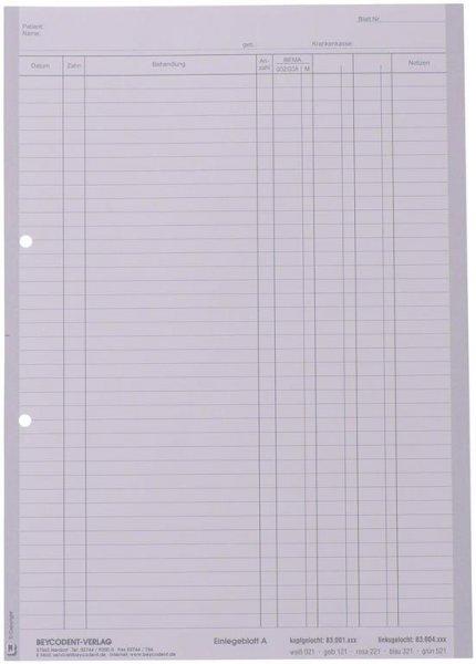 Einlegeblatt - Packung 1.000 Blatt weiß A, linksgelocht von Beycodent
