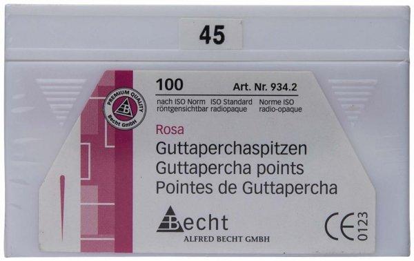 Guttaperchaspitzen rosa - Packung 100 Stück ISO 045 von Becht