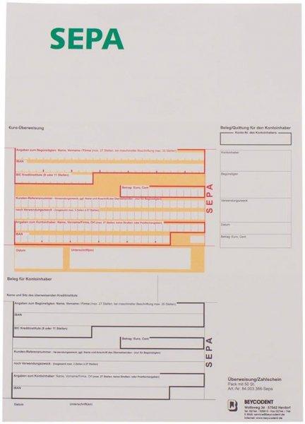 Überweisung/Zahlschein - Packung 50 Blatt von Beycodent