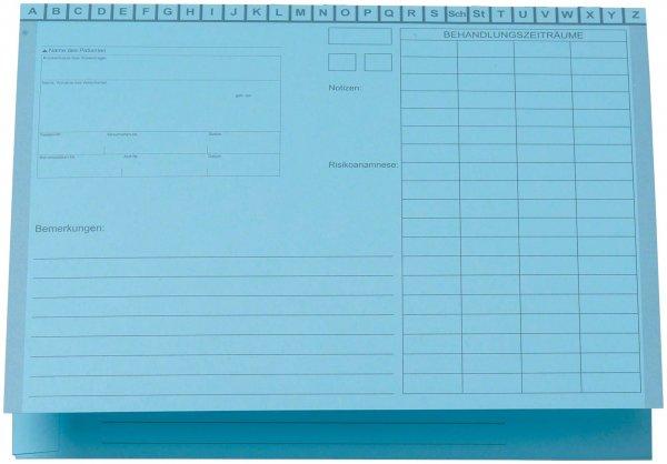 Karteimappe A5/D70 - Packung 100 Mappen blau von Beycodent