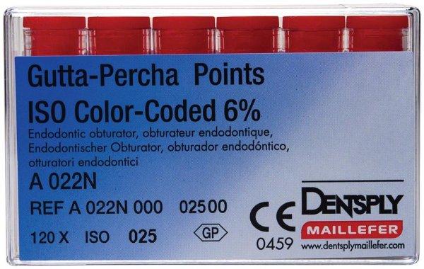 Gutta-Percha Spitzen - Packung 120 Stück Taper.06 ISO 025 von Dentsply Sirona