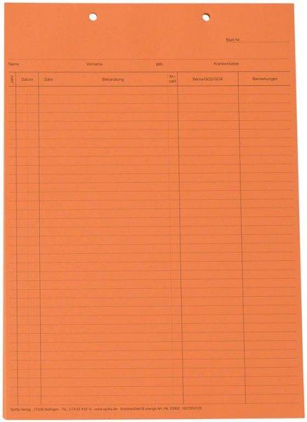 Krankenblatt B - Block 100 Blatt orange, A5, kopfgelocht von Spitta Verlag