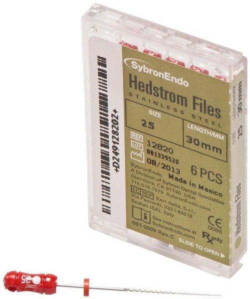 Hedströmfeilen - Packung 6 Feilen 30 mm ISO 025 von SybronEndo