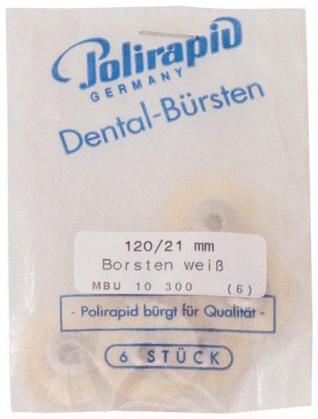 Miniaturbürste - Packung 6 Bürsten, Borste weiß, Ø 21 mm, unmontiert von Polirapid
