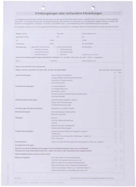 Formulare - Block 100 Blatt Erhebungsbogen für vorhandene Erkrankungen w ... von Spitta Verlag