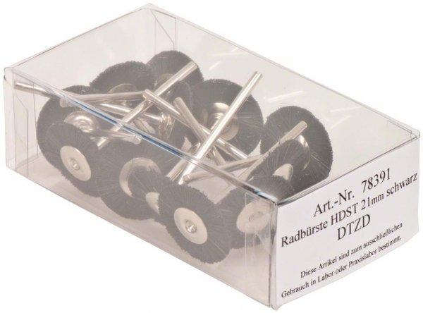 Radbürste Handstück - Packung 12 Bürsten montiert Borsten schwarz 21 mm von OMNIDENT