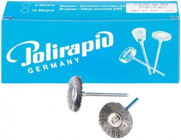 Miniaturbürste - Packung 6 Bürsten, Stahldraht 0,08 mm, Ø 25 mm von Polirapid