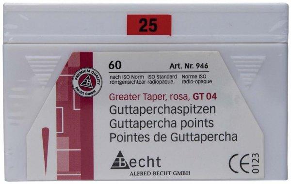 Guttaperchaspitzen Greater Taper - Packung 60 Stück Taper.04, ISO 025 von Becht