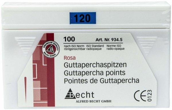 Guttaperchaspitzen rosa - Packung 100 Stück ISO 120 von Becht