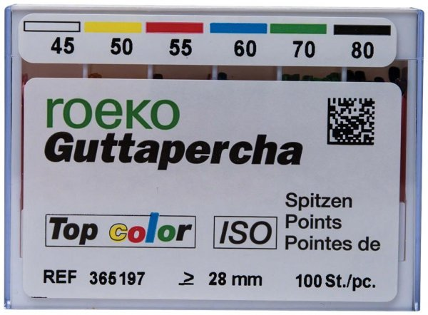 Guttapercha Top color - Sortiment 100 Stück ISO 045-080 von Roeko