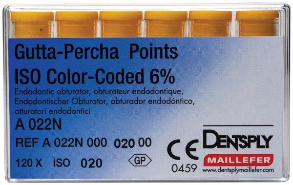 Gutta-Percha Spitzen - Packung 120 Stück Taper.06 ISO 020 von Dentsply Sirona