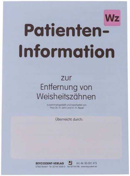 Patienten-Info - Packung 50 Hefte Entfernung Weisheitszahn von Beycodent