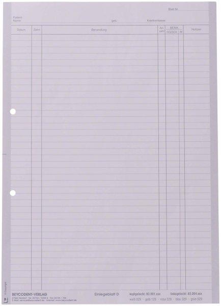 Einlegeblatt - Packung 1.000 Blatt weiß D, linksgelocht von Beycodent