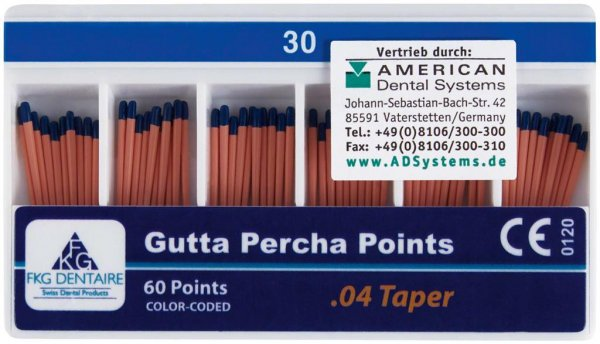 FKG Gutta Percha - Packung 60 Stück Taper.04 ISO 030 von American Dental