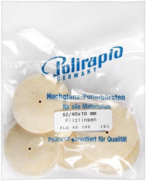 Filzlinse - Packung 6 Filzlinsen 52/40 x 10 mm von Polirapid