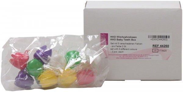 KKD® Milchzahndose - Sortiment 10 Dosen (grün, gelb, rosa, weiß, lila) von Kentzler-Kaschner