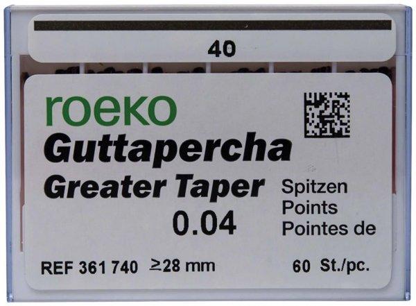 Guttapercha Greater Taper - Packung 60 Stück Taper.04 ISO 040 von COLTENE