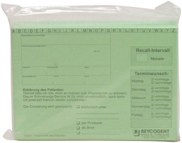 Recall-Karteikarte - Packung 100 Karten grün von Beycodent