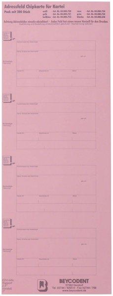 Adressfeld Chipkarte für Kartei - Packung 200 Etiketten rot von Beycodent