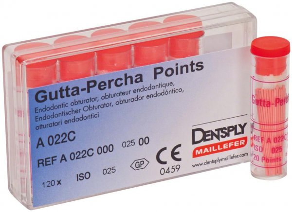 Guttapercha-Spitzen rosa - Packung 120 Stück rosa, Taper.02 ISO 025 von Dentsply Sirona