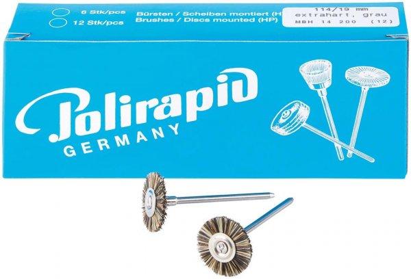 Miniaturbürste - Packung 12 Bürsten, Borste extrahart, Ø 19 mm von Polirapid
