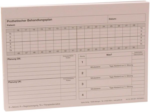 Formulare - Block 100 Blatt Prothetischer Behandlungsplan weiß, A5 von Spitta Verlag