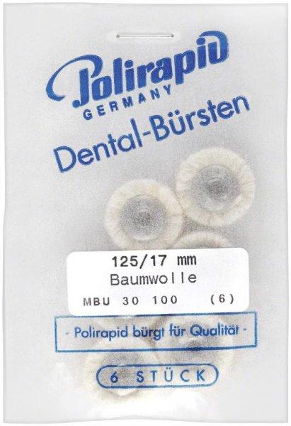 Miniaturbürste - Packung 6 Bürsten, Baumwollgarn, Ø 17 mm, unmontiert von Polirapid