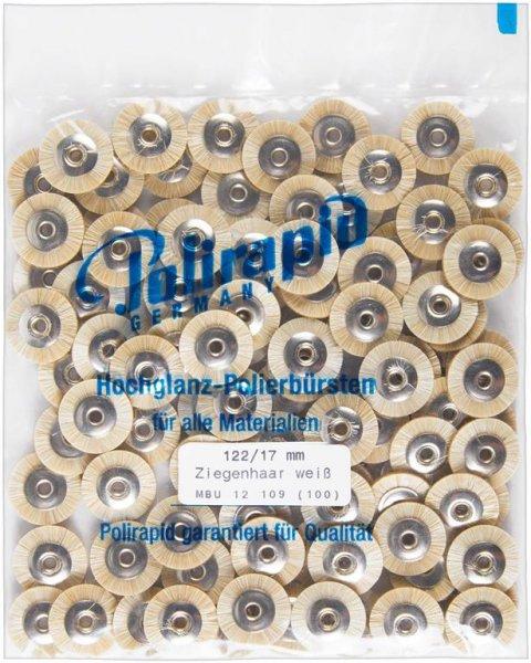 Miniaturbürste - Packung 100 Bürsten, Ziegenhaar weiß, Ø 17 mm, unmontiert von Polirapid