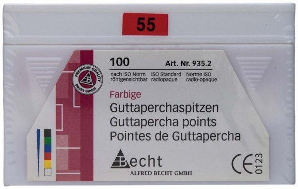 Guttaperchaspitzen farbig - Packung 100 Stück ISO 055 von Becht