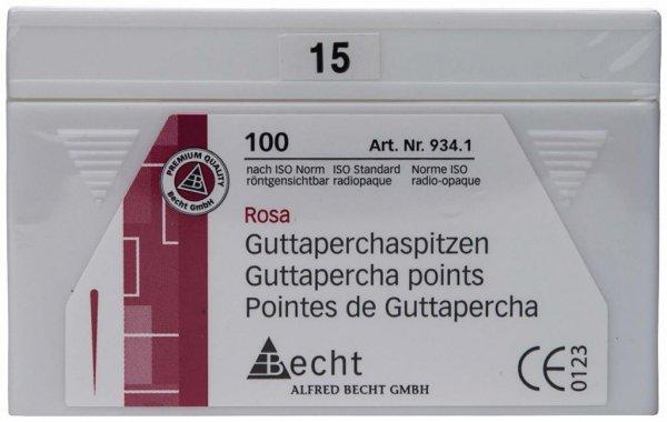 Guttaperchaspitzen rosa - Packung 100 Stück ISO 015 von Becht