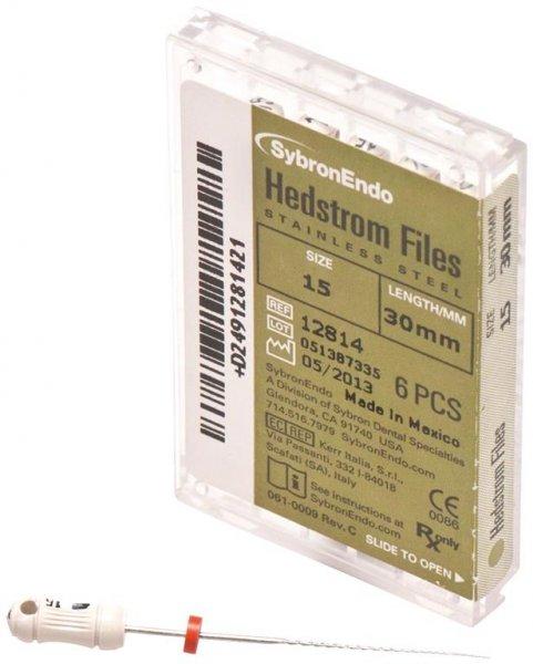 Hedströmfeilen - Packung 6 Feilen 30 mm ISO 015 von SybronEndo