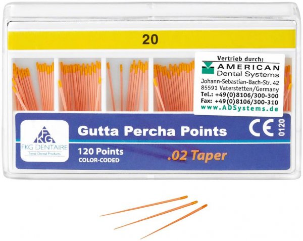 FKG Gutta Percha - Packung 120 Stück Taper.02 ISO 020 von American Dental