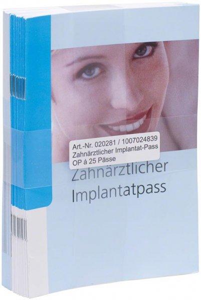 Implantatpass - Packung 25 Pässe von Spitta Verlag
