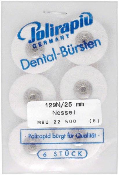 Miniaturbürste - Packung 6 Bürsten, Nessel, Ø 25 mm, unmontiert von Polirapid