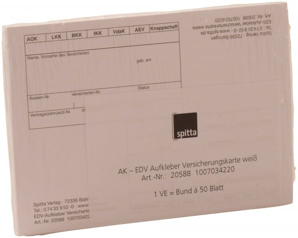 EDV-Aufkleber - Packung 50 Blatt weiß von Spitta Verlag